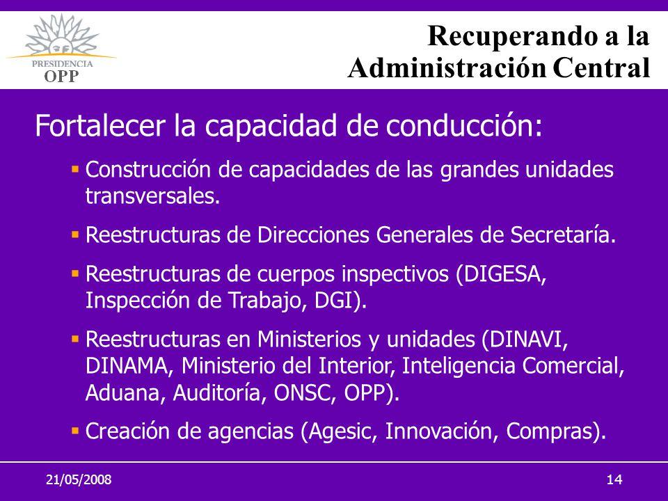 21/05/200814 Recuperando a la Administración Central Fortalecer la capacidad de conducción: Construcción de capacidades de las grandes unidades transv