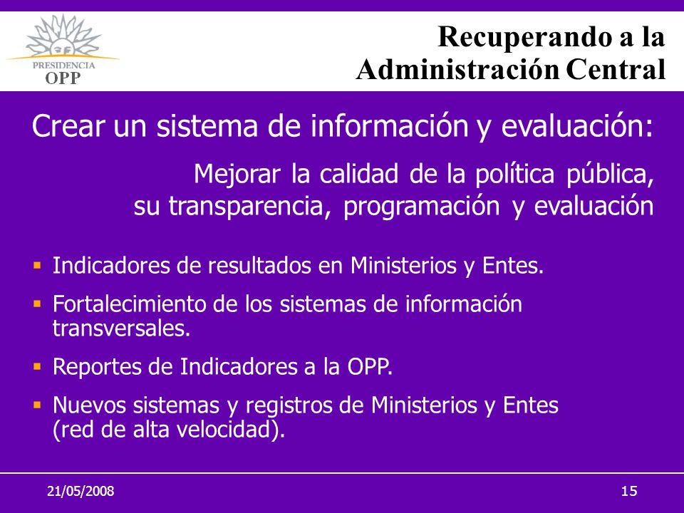 21/05/200815 Recuperando a la Administración Central Crear un sistema de información y evaluación: Mejorar la calidad de la política pública, su trans