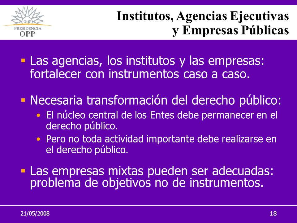 21/05/200818 Institutos, Agencias Ejecutivas y Empresas Públicas Las agencias, los institutos y las empresas: fortalecer con instrumentos caso a caso.