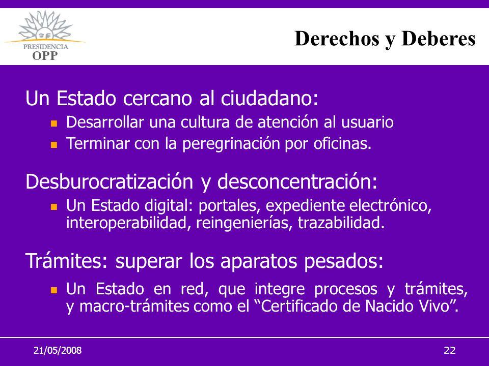 21/05/200822 Derechos y Deberes Un Estado cercano al ciudadano: Desarrollar una cultura de atención al usuario Terminar con la peregrinación por ofici