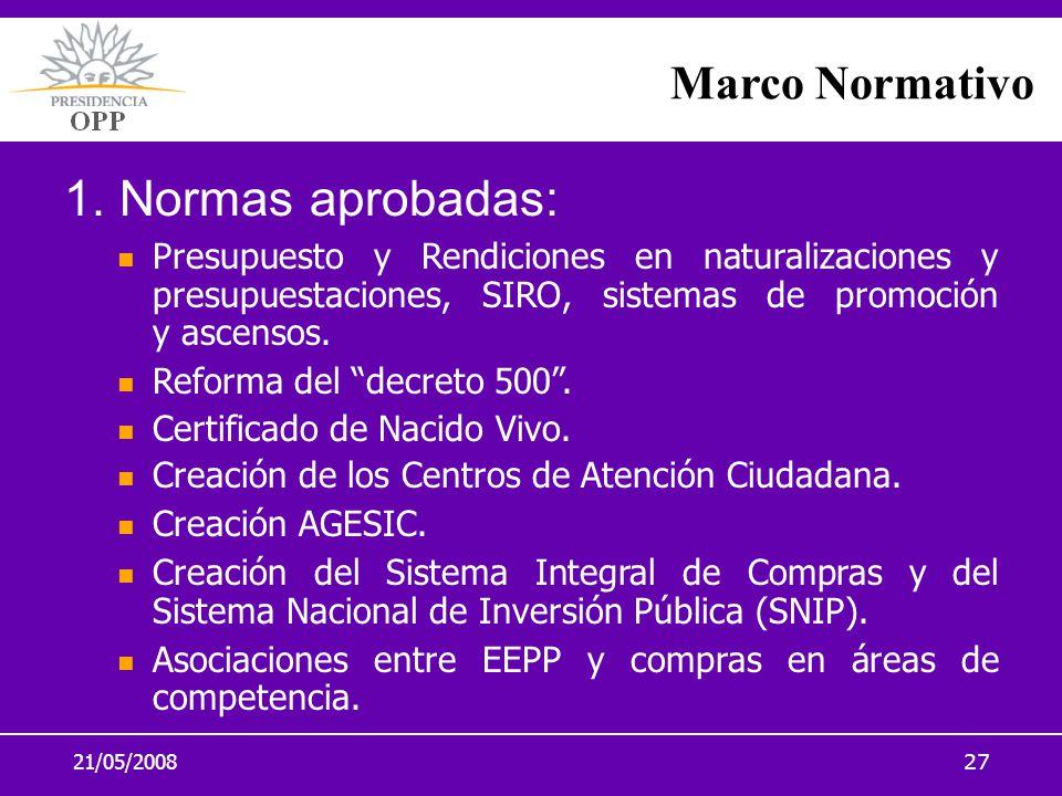 21/05/200827 1. Normas aprobadas: Presupuesto y Rendiciones en naturalizaciones y presupuestaciones, SIRO, sistemas de promoción y ascensos. Reforma d