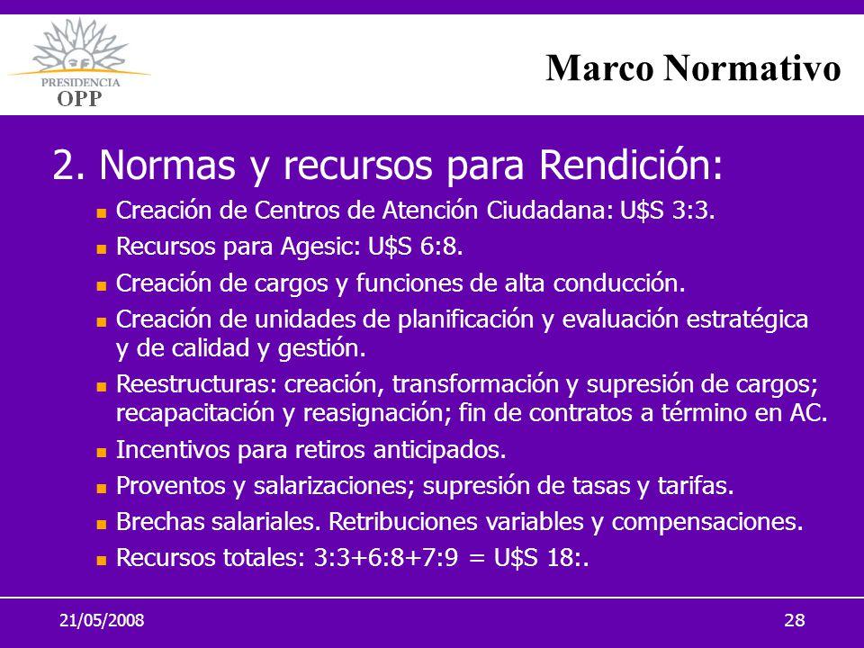 21/05/200828 2. Normas y recursos para Rendición: Creación de Centros de Atención Ciudadana: U$S 3:3. Recursos para Agesic: U$S 6:8. Creación de cargo