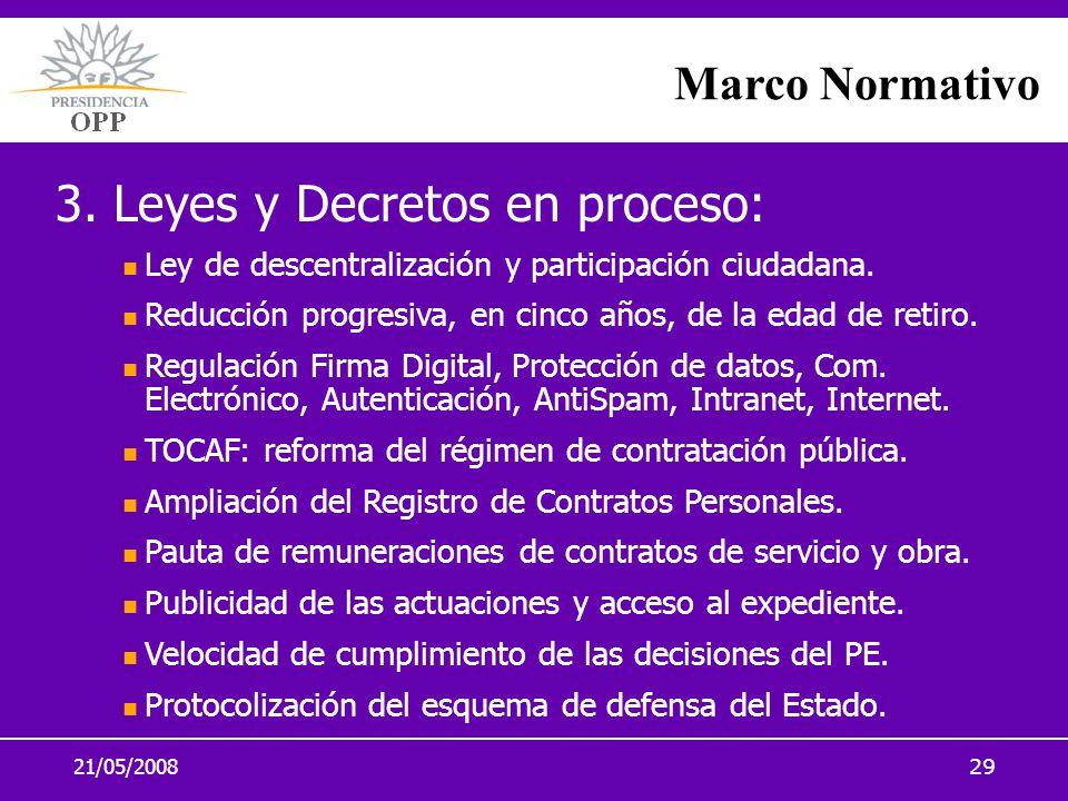 21/05/200829 Marco Normativo 3. Leyes y Decretos en proceso: Ley de descentralización y participación ciudadana. Reducción progresiva, en cinco años,