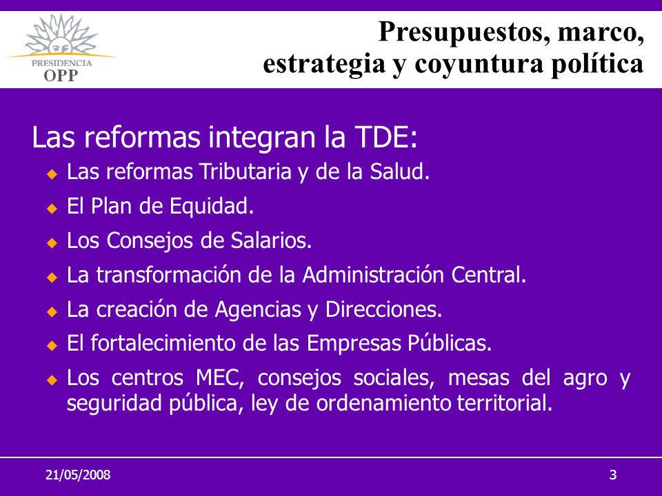 21/05/20083 Las reformas integran la TDE: Las reformas Tributaria y de la Salud. El Plan de Equidad. Los Consejos de Salarios. La transformación de la