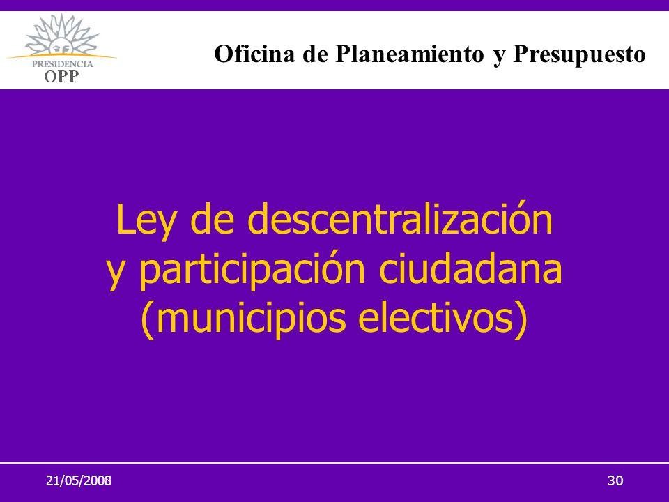 21/05/200830 Ley de descentralización y participación ciudadana (municipios electivos) Oficina de Planeamiento y Presupuesto