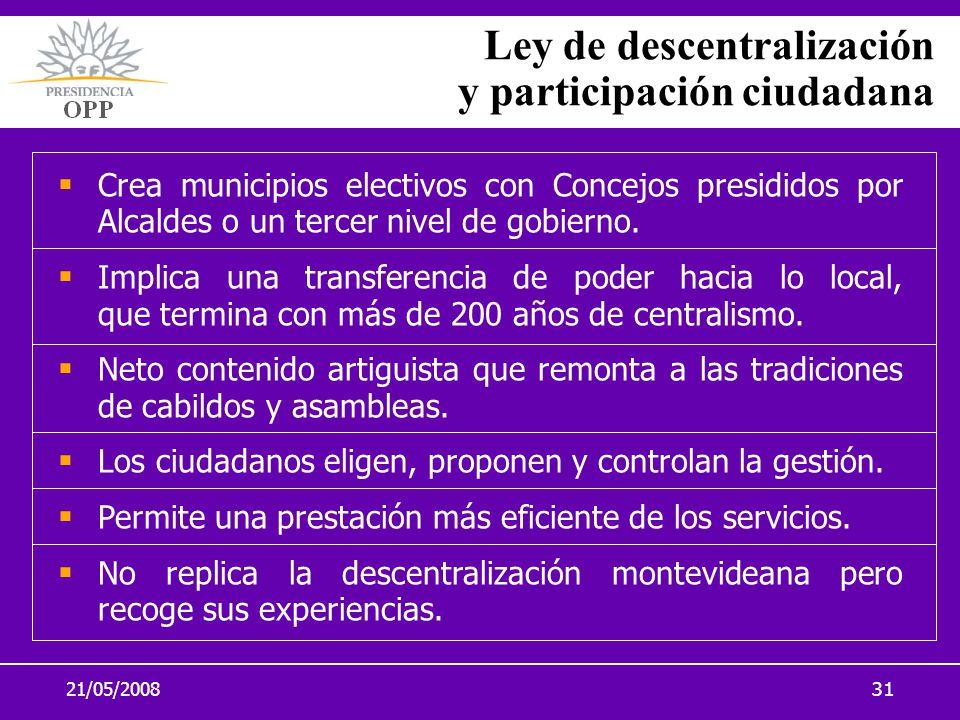 21/05/200831 Ley de descentralización y participación ciudadana Crea municipios electivos con Concejos presididos por Alcaldes o un tercer nivel de go