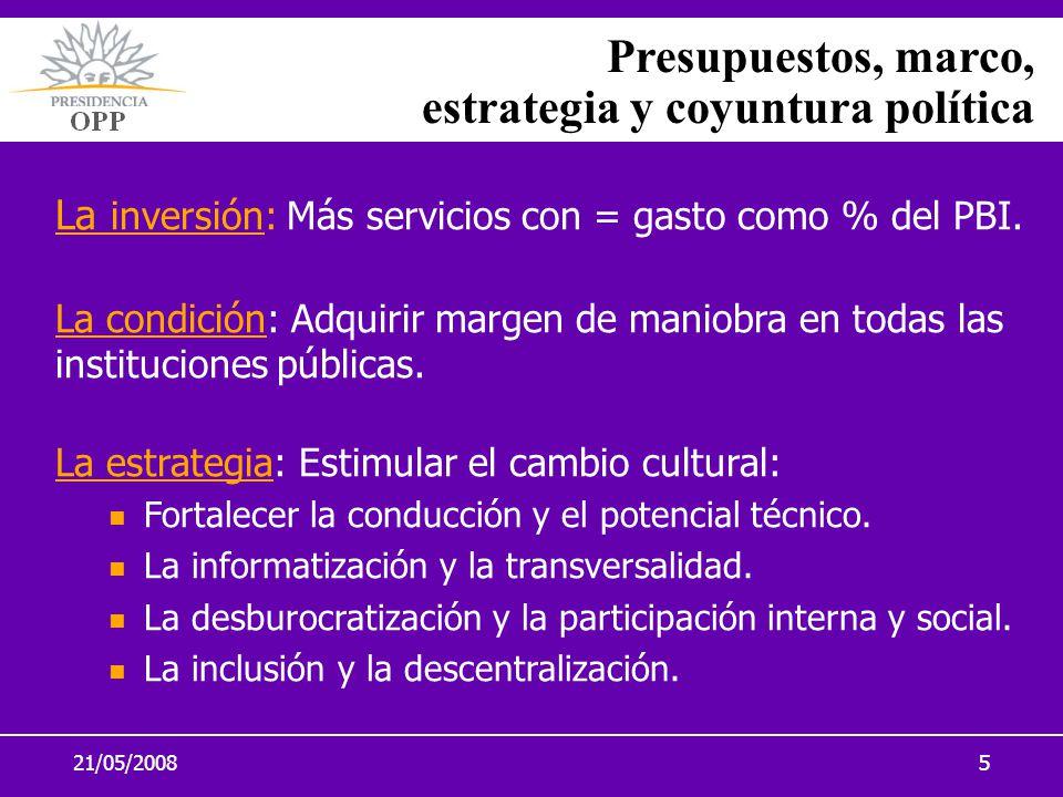 21/05/20085 Presupuestos, marco, estrategia y coyuntura política La inversión: Más servicios con = gasto como % del PBI. La condición: Adquirir margen