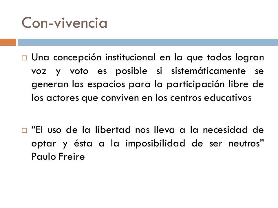 Con-vivencia Una concepción institucional en la que todos logran voz y voto es posible si sistemáticamente se generan los espacios para la participación libre de los actores que conviven en los centros educativos El uso de la libertad nos lleva a la necesidad de optar y ésta a la imposibilidad de ser neutros Paulo Freire
