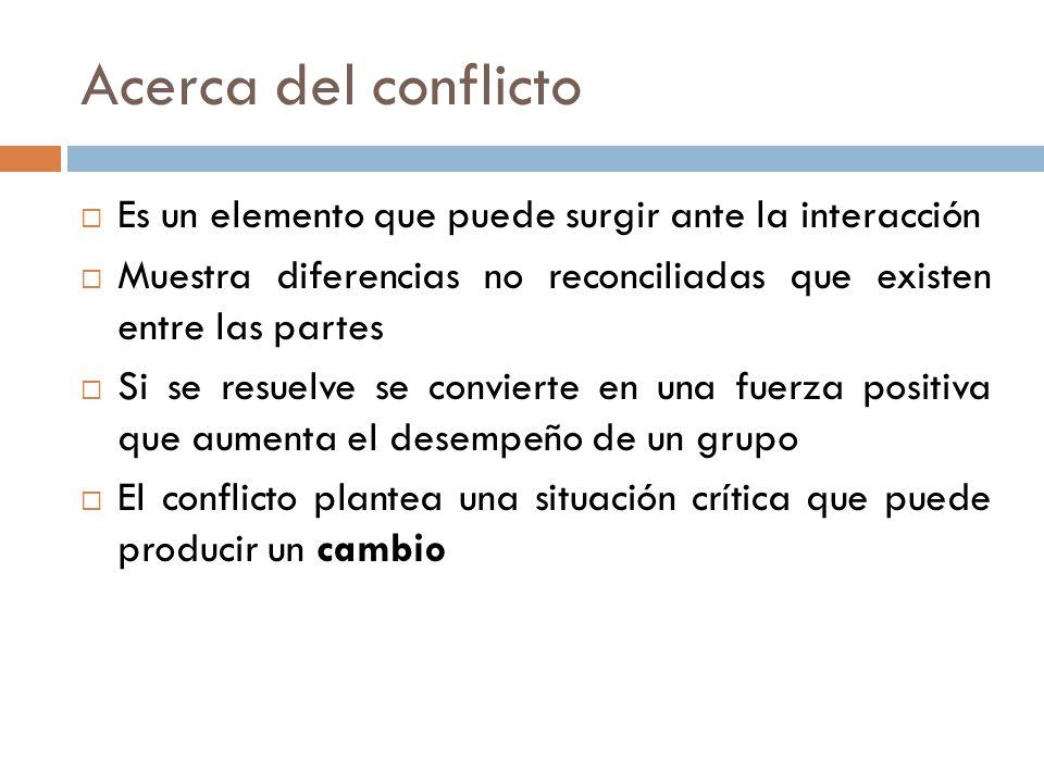 Acerca del conflicto Es un elemento que puede surgir ante la interacción Muestra diferencias no reconciliadas que existen entre las partes Si se resuelve se convierte en una fuerza positiva que aumenta el desempeño de un grupo El conflicto plantea una situación crítica que puede producir un cambio