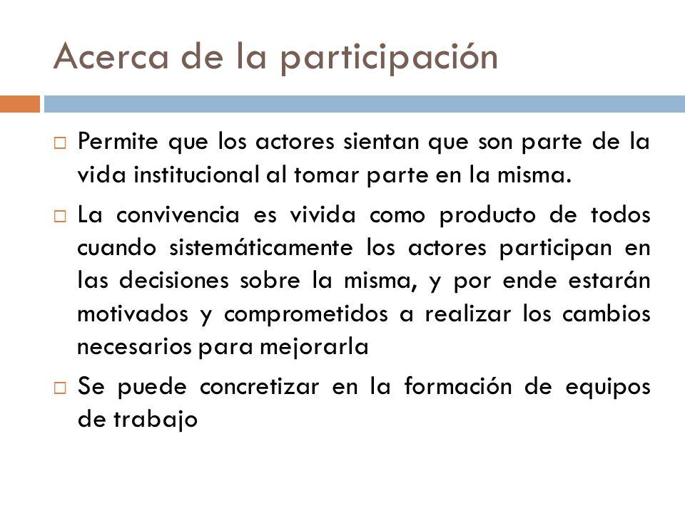Acerca de la participación Permite que los actores sientan que son parte de la vida institucional al tomar parte en la misma.