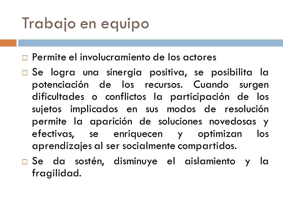 Trabajo en equipo Permite el involucramiento de los actores Se logra una sinergia positiva, se posibilita la potenciación de los recursos.