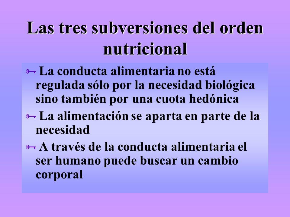 Las tres subversiones del orden nutricional La conducta alimentaria no está regulada sólo por la necesidad biológica sino también por una cuota hedóni
