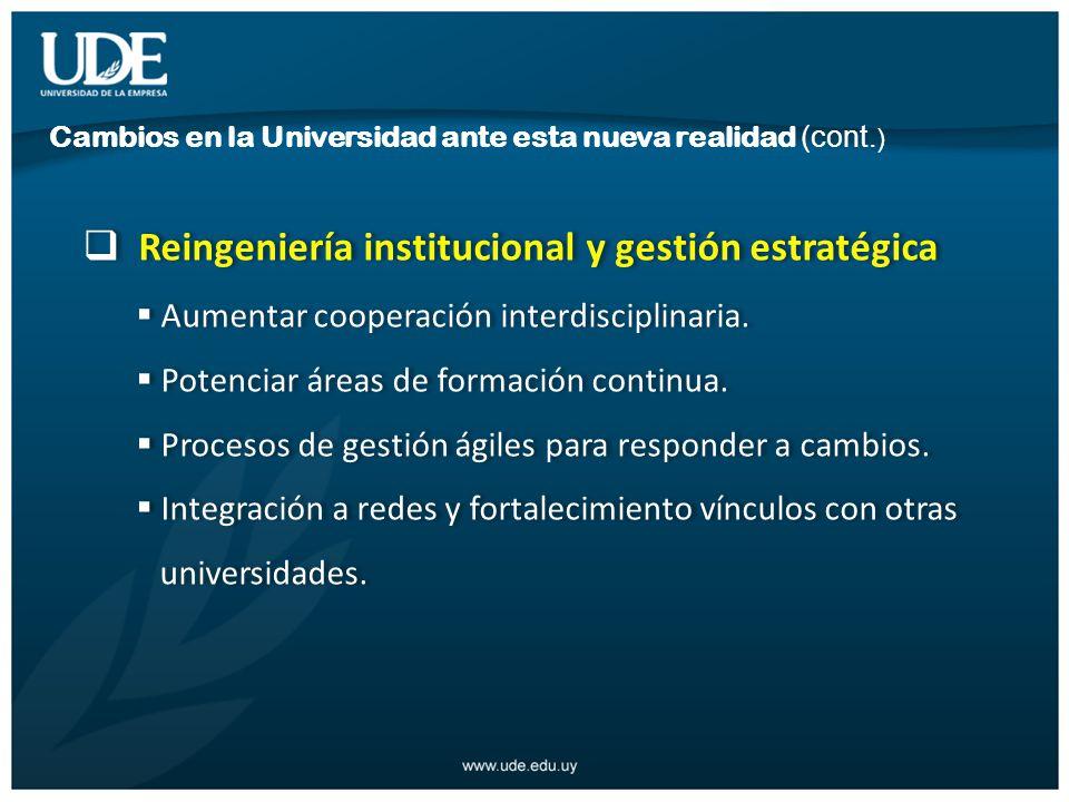 Reingeniería institucional y gestión estratégica Aumentar cooperación interdisciplinaria.