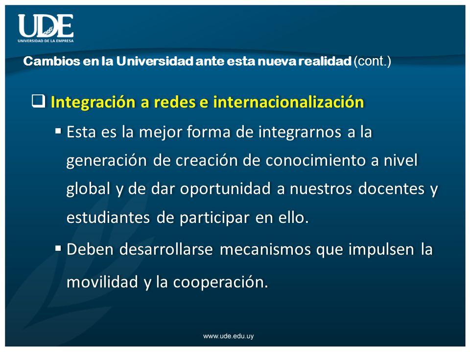 Integración a redes e internacionalización Esta es la mejor forma de integrarnos a la generación de creación de conocimiento a nivel global y de dar oportunidad a nuestros docentes y estudiantes de participar en ello.