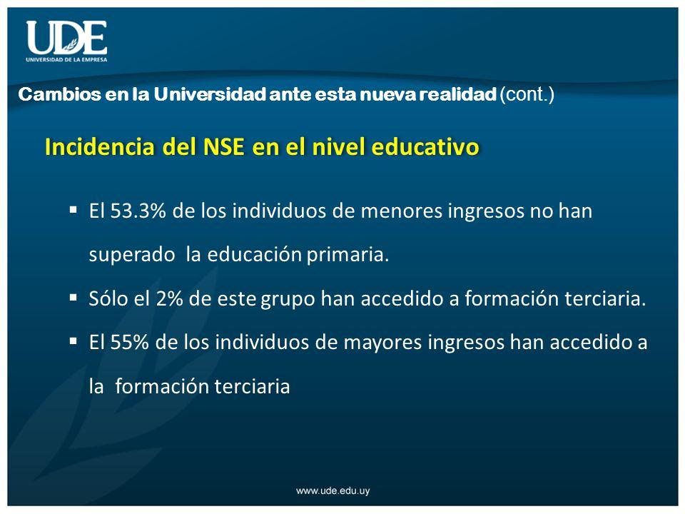 Incidencia del NSE en el nivel educativo El 53.3% de los individuos de menores ingresos no han superado la educación primaria.