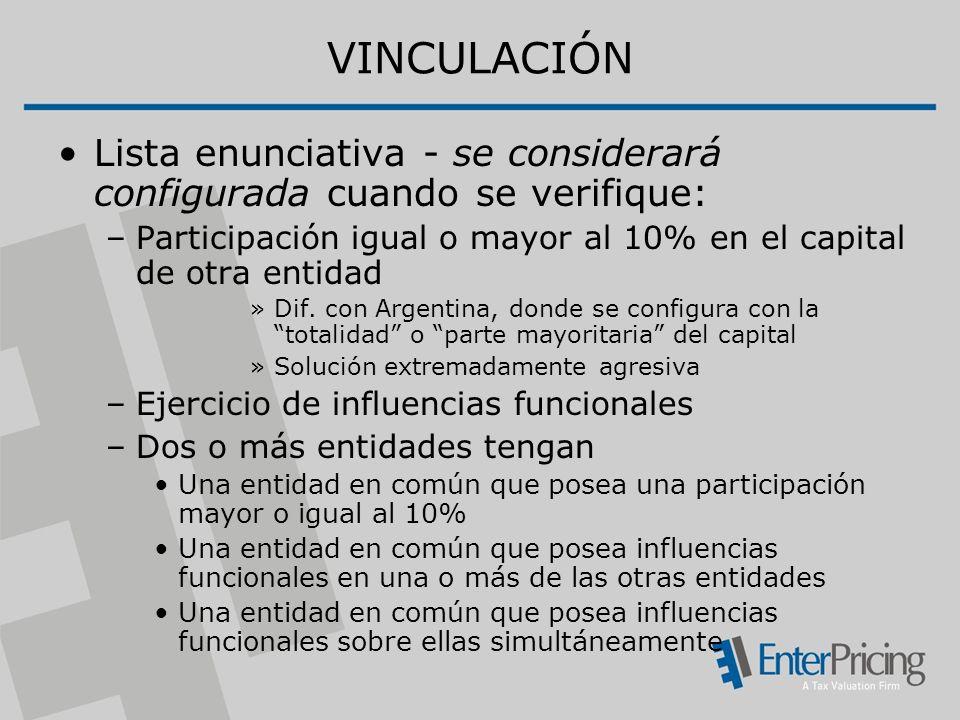 VINCULACIÓN Lista enunciativa - se considerará configurada cuando se verifique: –Participación igual o mayor al 10% en el capital de otra entidad »Dif.
