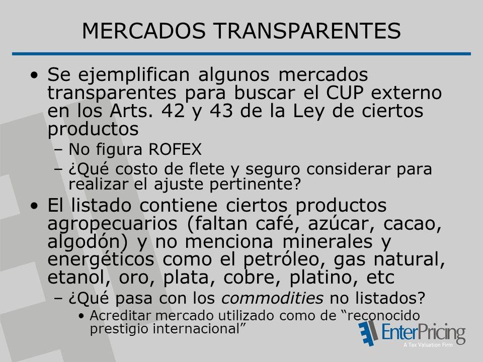 MERCADOS TRANSPARENTES Se ejemplifican algunos mercados transparentes para buscar el CUP externo en los Arts.