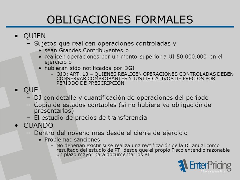 OBLIGACIONES FORMALES QUIEN –Sujetos que realicen operaciones controladas y sean Grandes Contribuyentes o realicen operaciones por un monto superior a UI 50.000.000 en el ejercicio o hubieran sido notificados por DGI –OJO: ART.