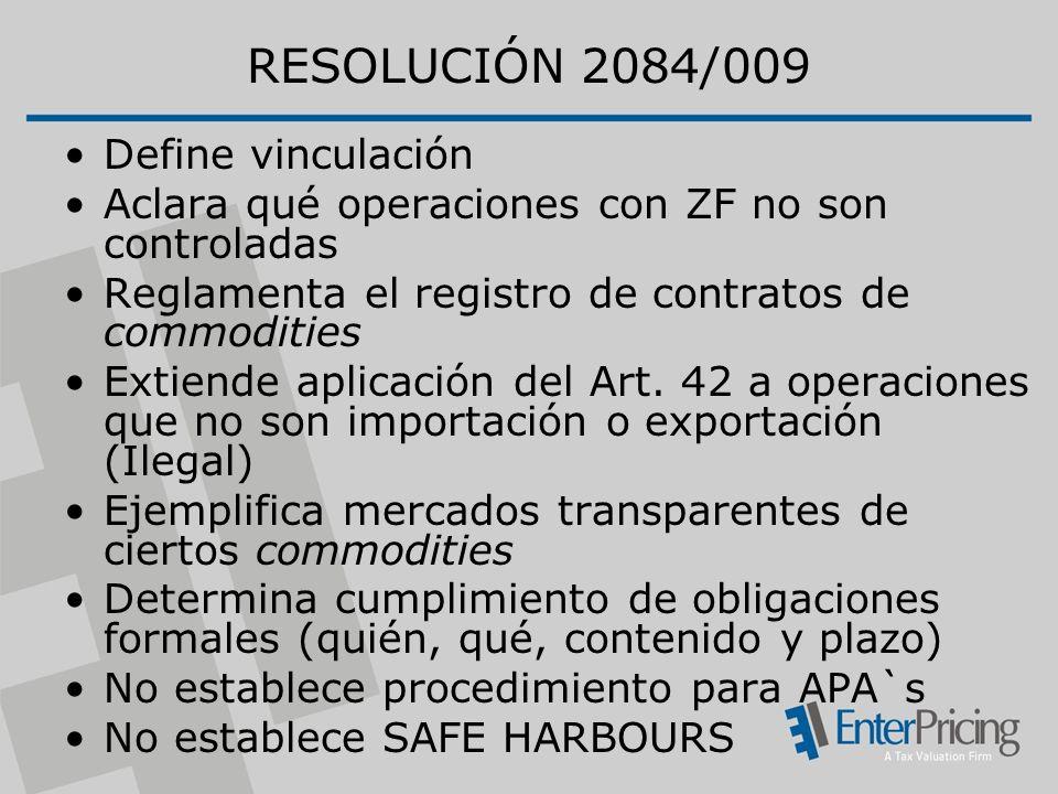 RESOLUCIÓN 2084/009 Define vinculación Aclara qué operaciones con ZF no son controladas Reglamenta el registro de contratos de commodities Extiende aplicación del Art.