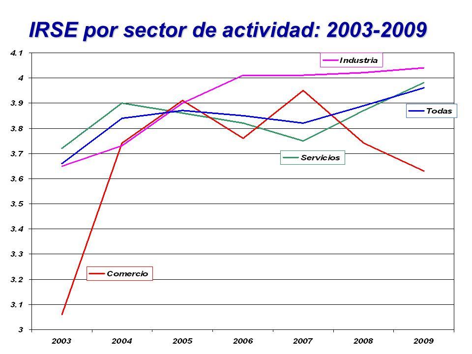 IRSE por sector de actividad: 2003-2009