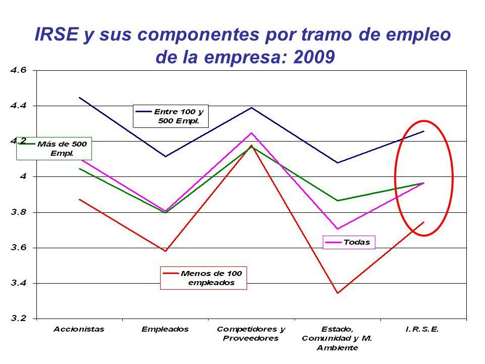 IRSE y sus componentes por tramo de empleo de la empresa: 2009