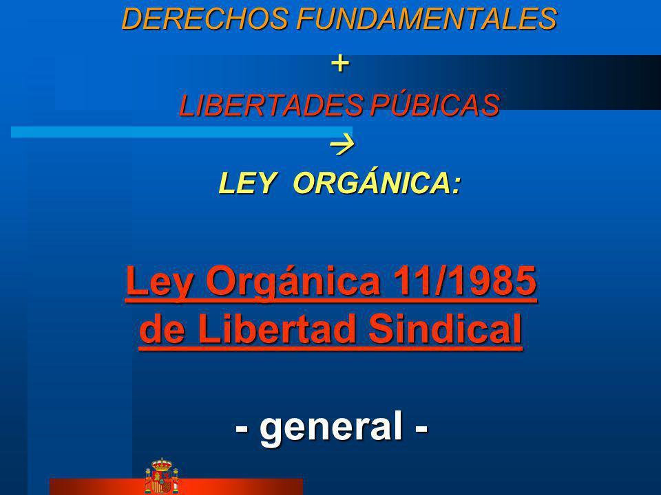 DERECHOS FUNDAMENTALES + LIBERTADES PÚBICAS LEY ORGÁNICA: Ley Orgánica 11/1985 de Libertad Sindical Ley Orgánica 11/1985 de Libertad Sindical - general -