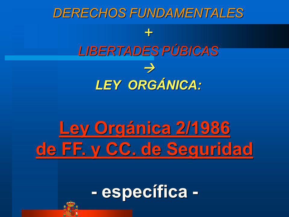 DERECHOS FUNDAMENTALES + LIBERTADES PÚBICAS LEY ORGÁNICA: Ley Orgánica 2/1986 de FF. y CC. de Seguridad Ley Orgánica 2/1986 de FF. y CC. de Seguridad