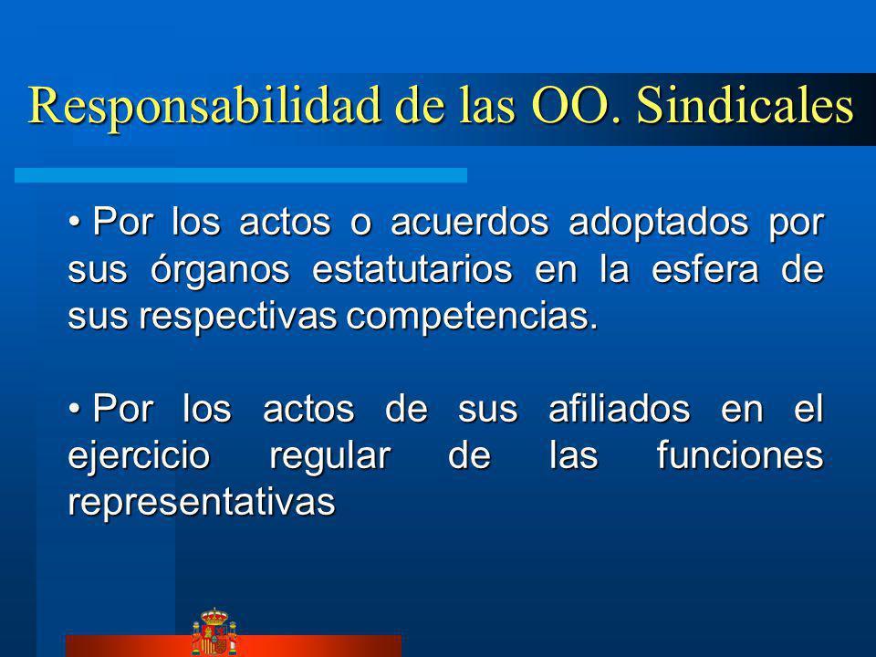 Responsabilidad de las OO. Sindicales Responsabilidad de las OO. Sindicales Por los actos o acuerdos adoptados por sus órganos estatutarios en la esfe