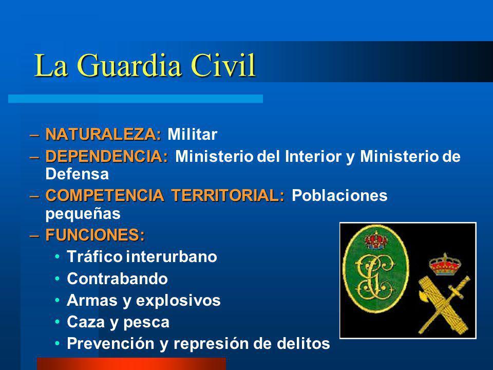 La Guardia Civil –NATURALEZA: –NATURALEZA: Militar –DEPENDENCIA: –DEPENDENCIA: Ministerio del Interior y Ministerio de Defensa –COMPETENCIA TERRITORIA