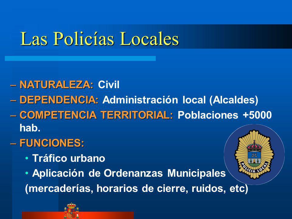 Las Policías Locales –NATURALEZA: –NATURALEZA: Civil –DEPENDENCIA: –DEPENDENCIA: Administración local (Alcaldes) –COMPETENCIA TERRITORIAL: –COMPETENCIA TERRITORIAL: Poblaciones +5000 hab.