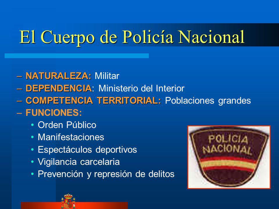 El Cuerpo de Policía Nacional –NATURALEZA: –NATURALEZA: Militar –DEPENDENCIA –DEPENDENCIA: Ministerio del Interior –COMPETENCIA TERRITORIAL: –COMPETEN