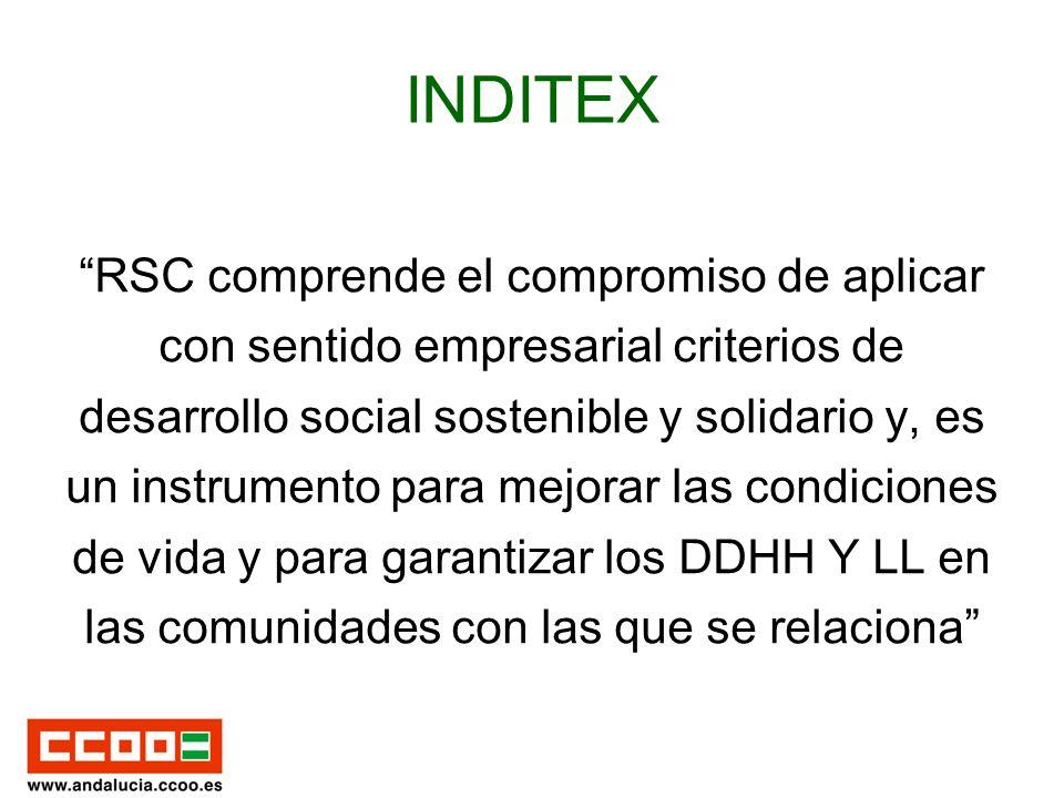 INDITEX RSC comprende el compromiso de aplicar con sentido empresarial criterios de desarrollo social sostenible y solidario y, es un instrumento para mejorar las condiciones de vida y para garantizar los DDHH Y LL en las comunidades con las que se relaciona