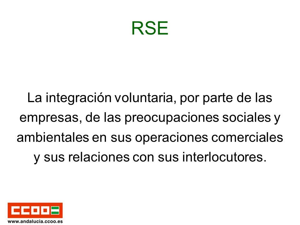 RSE La integración voluntaria, por parte de las empresas, de las preocupaciones sociales y ambientales en sus operaciones comerciales y sus relaciones con sus interlocutores.