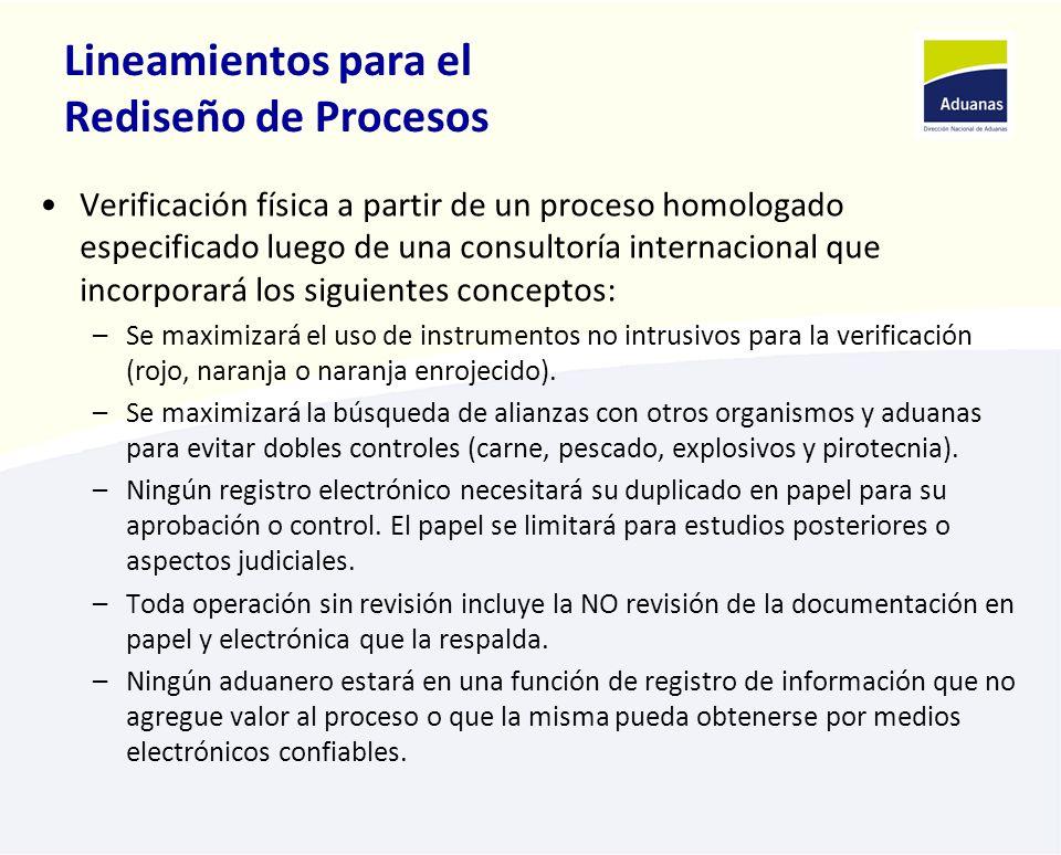 Lineamientos para el Rediseño de Procesos Verificación física a partir de un proceso homologado especificado luego de una consultoría internacional qu