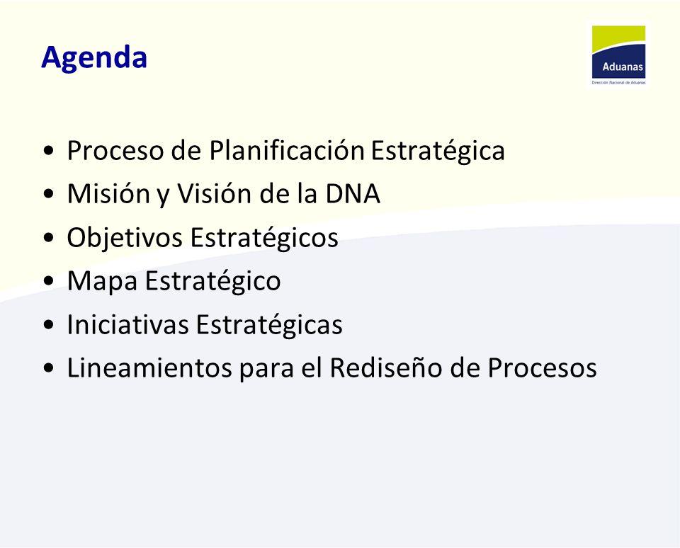 Agenda Proceso de Planificación Estratégica Misión y Visión de la DNA Objetivos Estratégicos Mapa Estratégico Iniciativas Estratégicas Lineamientos para el Rediseño de Procesos