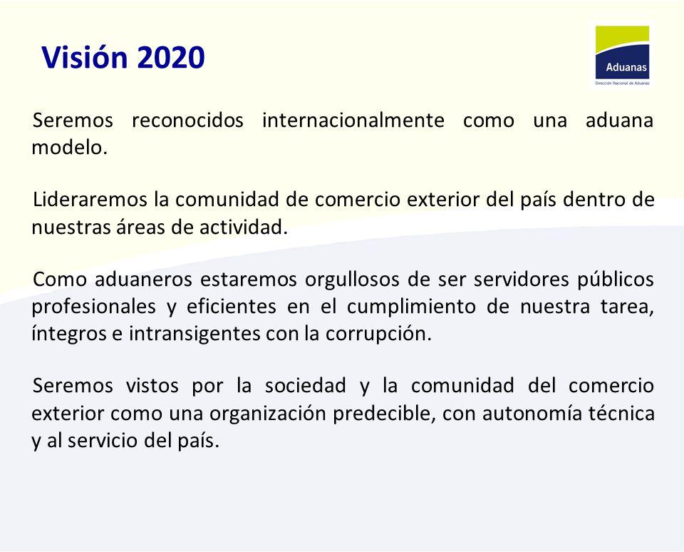 Visión 2020 Seremos reconocidos internacionalmente como una aduana modelo. Lideraremos la comunidad de comercio exterior del país dentro de nuestras á