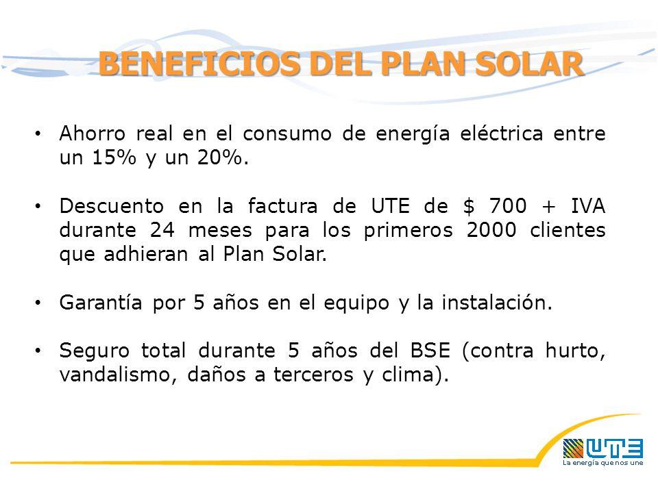 BENEFICIOS DEL PLAN SOLAR Ahorro real en el consumo de energía eléctrica entre un 15% y un 20%.