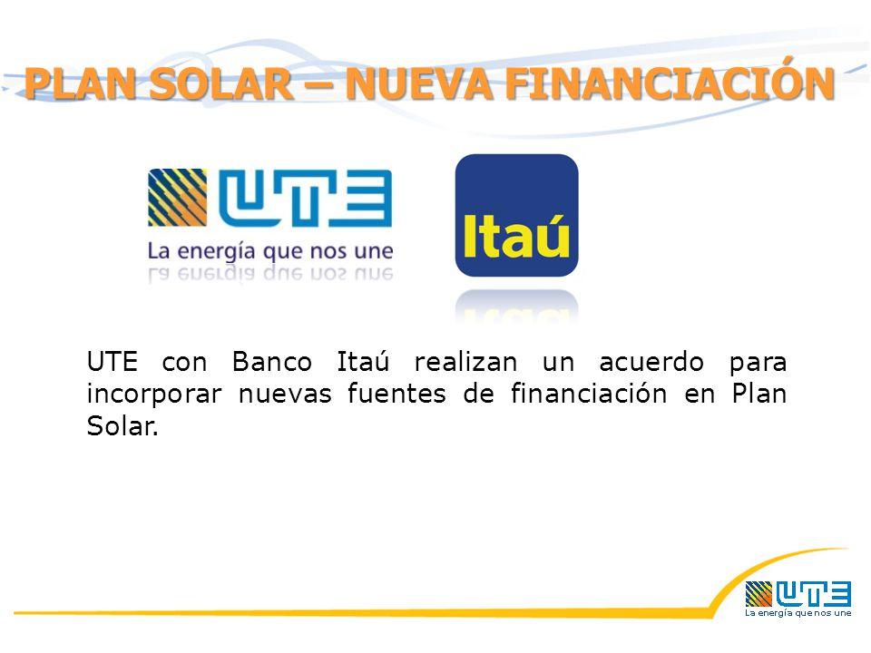 PLAN SOLAR – NUEVA FINANCIACIÓN UTE con Banco Itaú realizan un acuerdo para incorporar nuevas fuentes de financiación en Plan Solar.