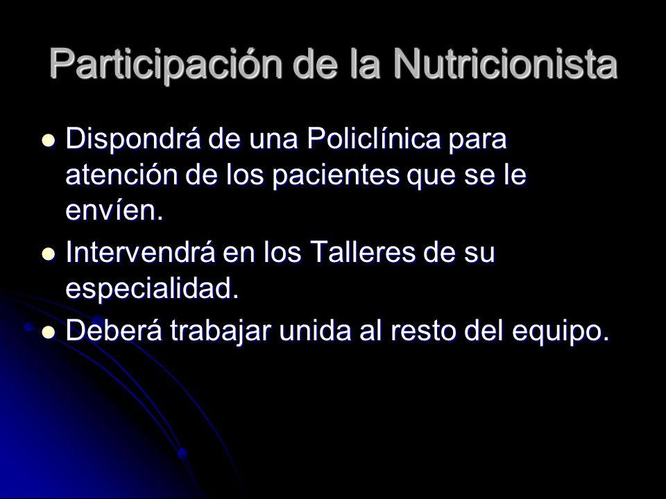 Participación de la Nutricionista Dispondrá de una Policlínica para atención de los pacientes que se le envíen.