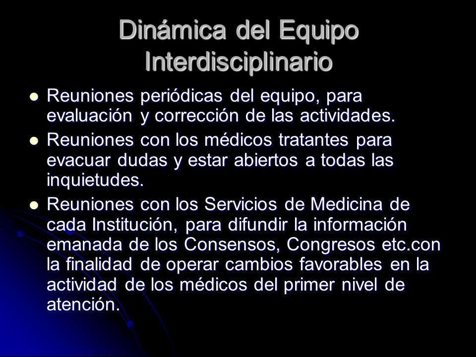 Dinámica del Equipo Interdisciplinario Reuniones periódicas del equipo, para evaluación y corrección de las actividades.