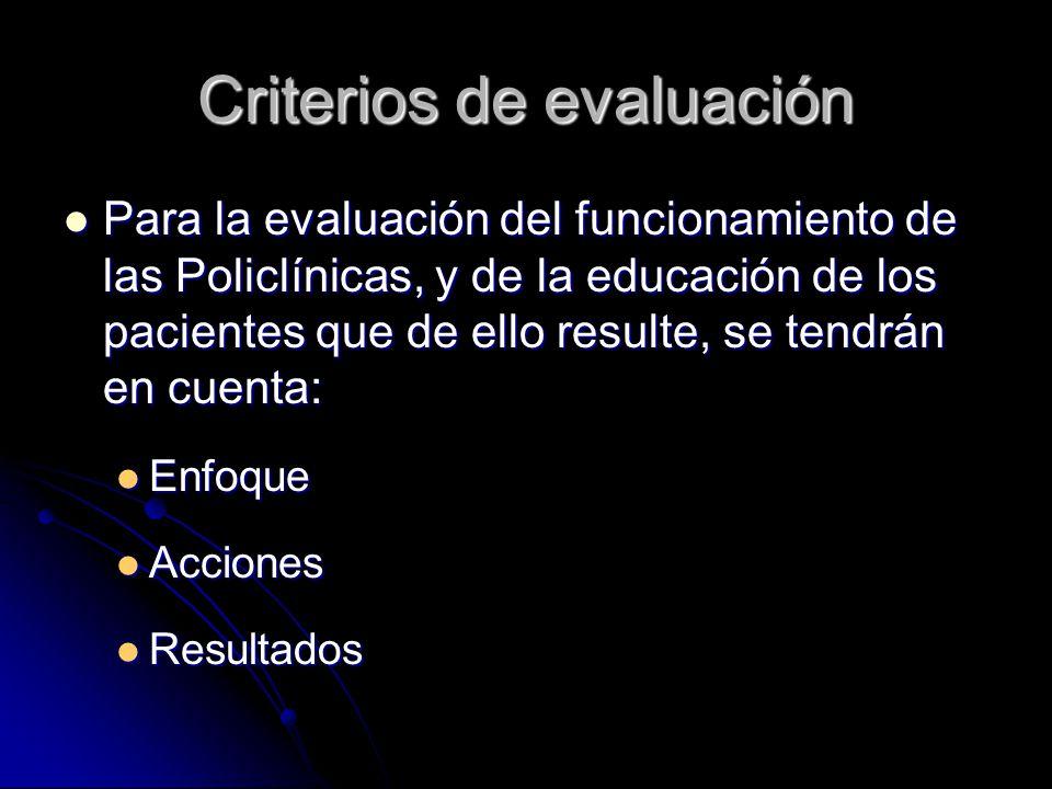 Criterios de evaluación Para la evaluación del funcionamiento de las Policlínicas, y de la educación de los pacientes que de ello resulte, se tendrán en cuenta: Para la evaluación del funcionamiento de las Policlínicas, y de la educación de los pacientes que de ello resulte, se tendrán en cuenta: Enfoque Enfoque Acciones Acciones Resultados Resultados