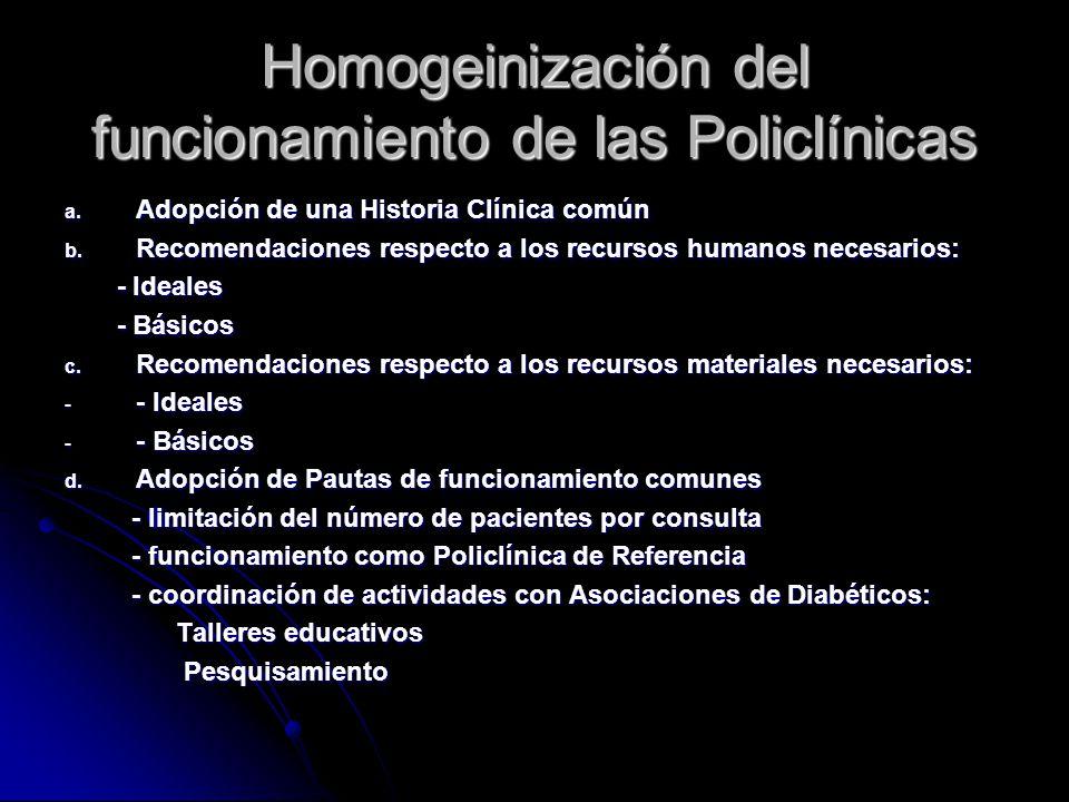 Homogeinización del funcionamiento de las Policlínicas a.