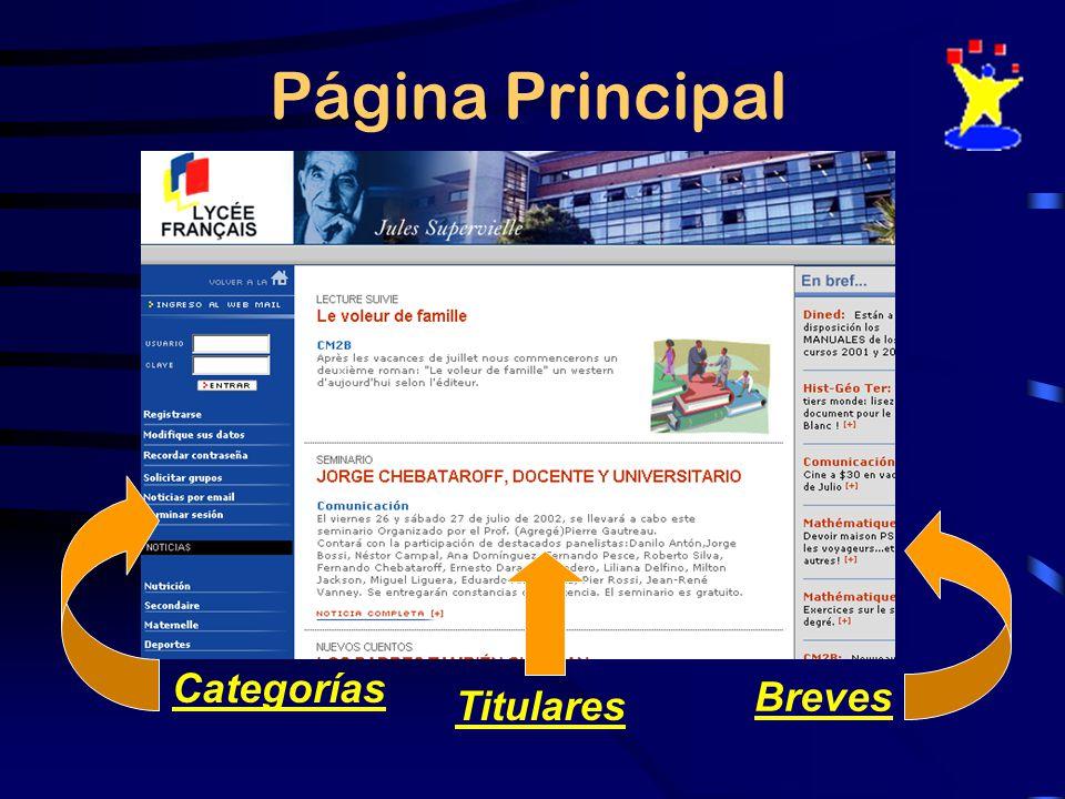 Página Principal Titulares Breves Categorías