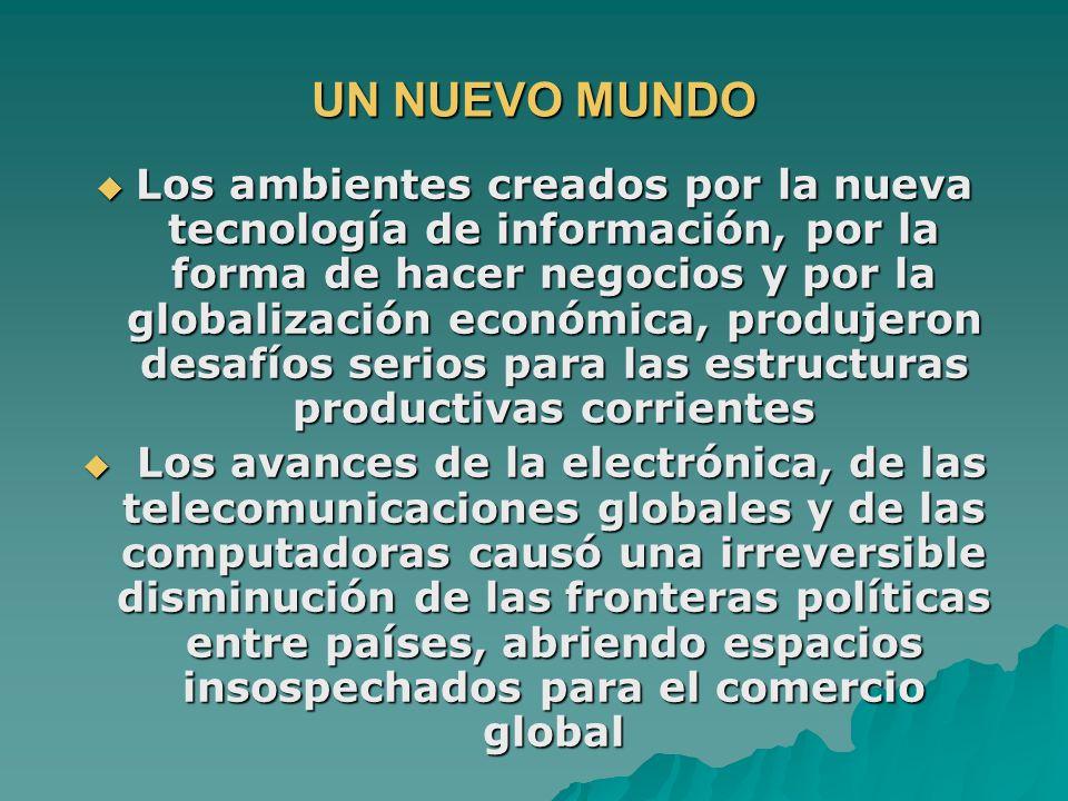 UN NUEVO MUNDO Los ambientes creados por la nueva tecnología de información, por la forma de hacer negocios y por la globalización económica, produjer