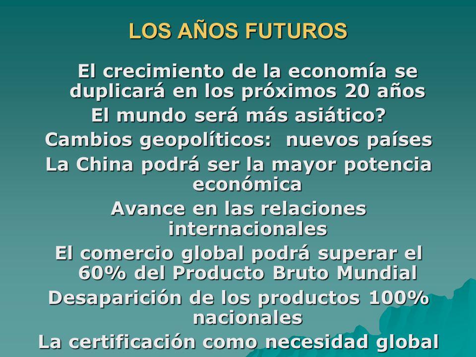 LOS AÑOS FUTUROS El crecimiento de la economía se duplicará en los próximos 20 años El mundo será más asiático? Cambios geopolíticos: nuevos países La