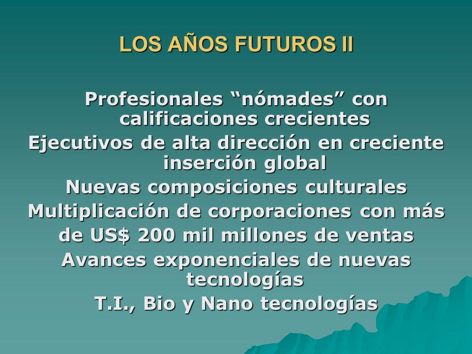 LOS AÑOS FUTUROS II Profesionales nómades con calificaciones crecientes Ejecutivos de alta dirección en creciente inserción global Nuevas composicione