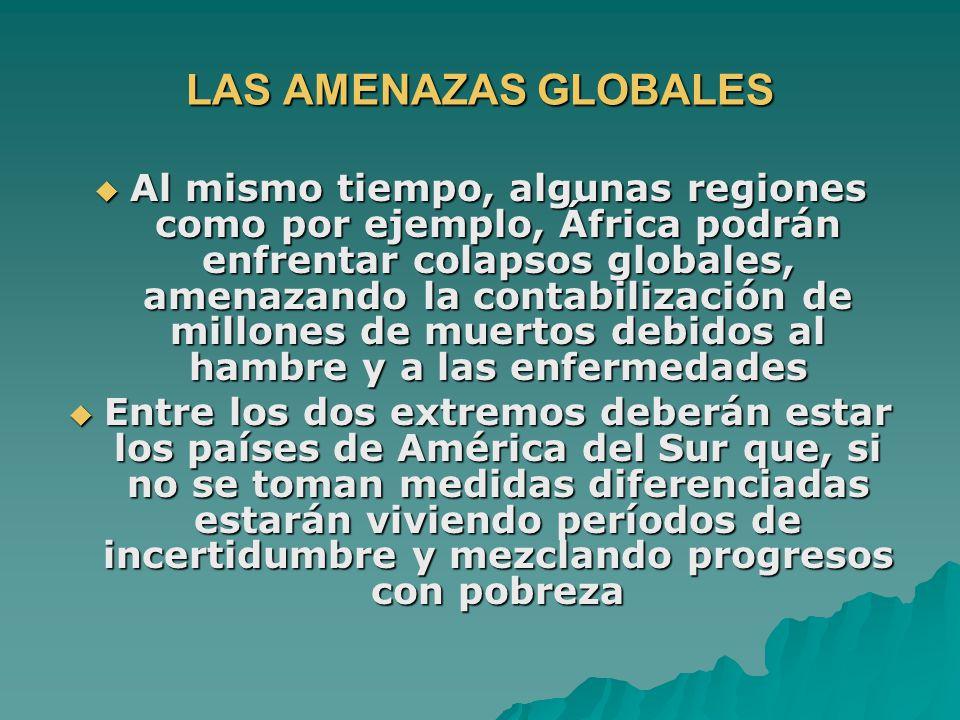 LAS AMENAZAS GLOBALES Al mismo tiempo, algunas regiones como por ejemplo, África podrán enfrentar colapsos globales, amenazando la contabilización de