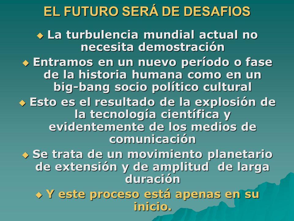 EL FUTURO SERÁ DE DESAFIOS La turbulencia mundial actual no necesita demostración La turbulencia mundial actual no necesita demostración Entramos en u