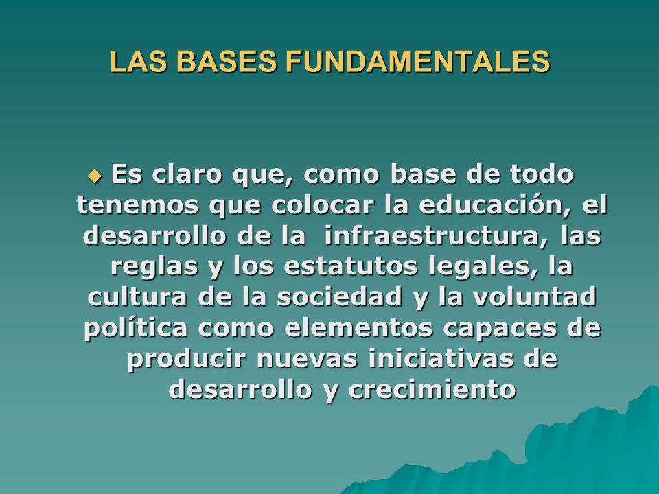LAS BASES FUNDAMENTALES Es claro que, como base de todo tenemos que colocar la educación, el desarrollo de la infraestructura, las reglas y los estatu