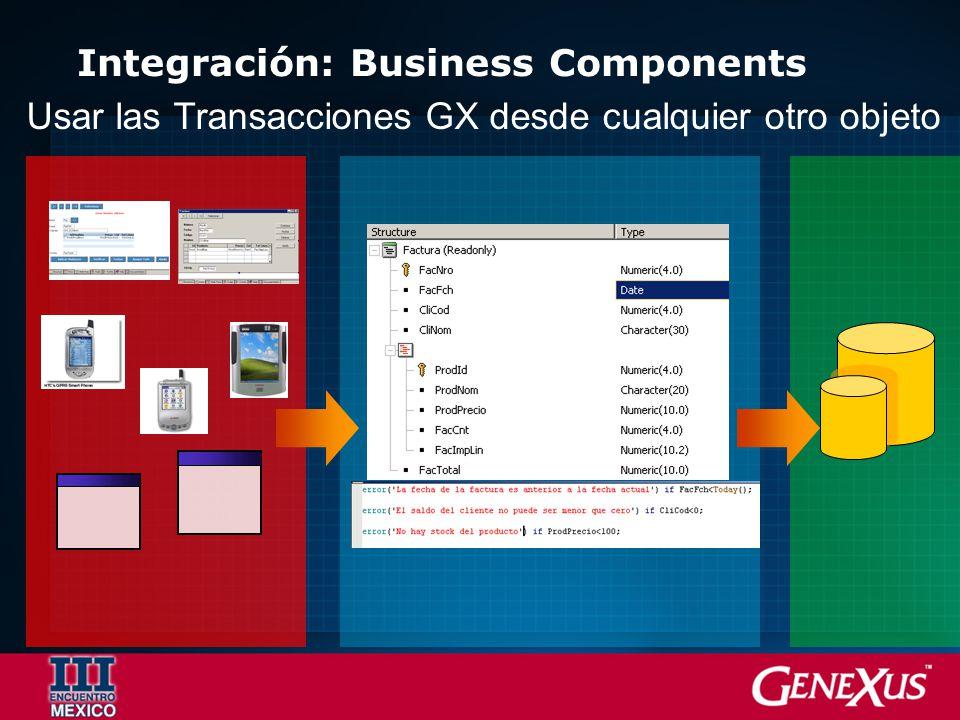 Integración: Business Components Usar las Transacciones GX desde cualquier otro objeto